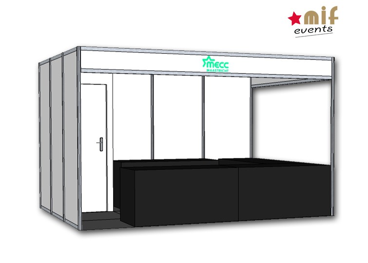 Maastricht International Fair – MIF 2017 – CORNERSTAND WITH STORAGE FRONT VIEW
