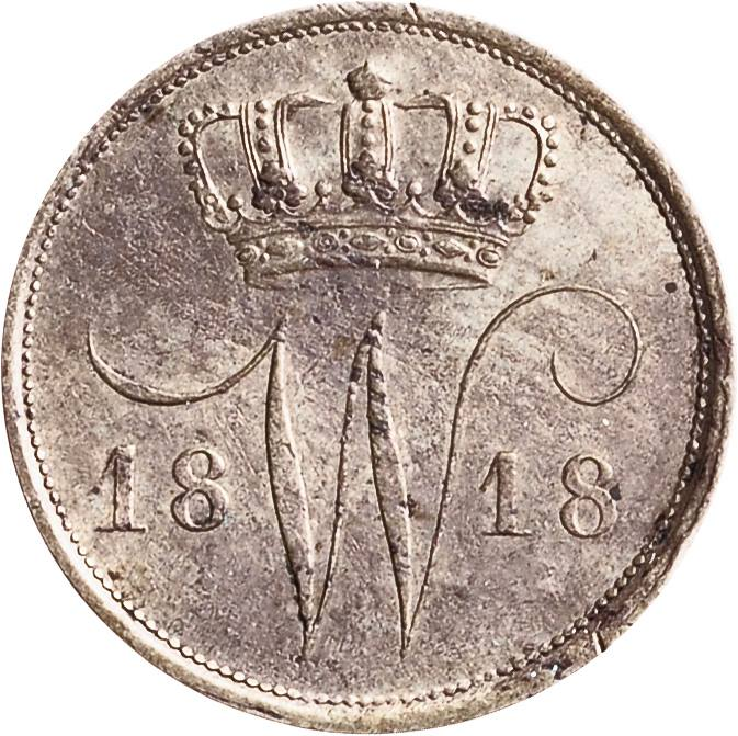 A Dutch 10ct coin aka dubbeltje dated from the year 1818