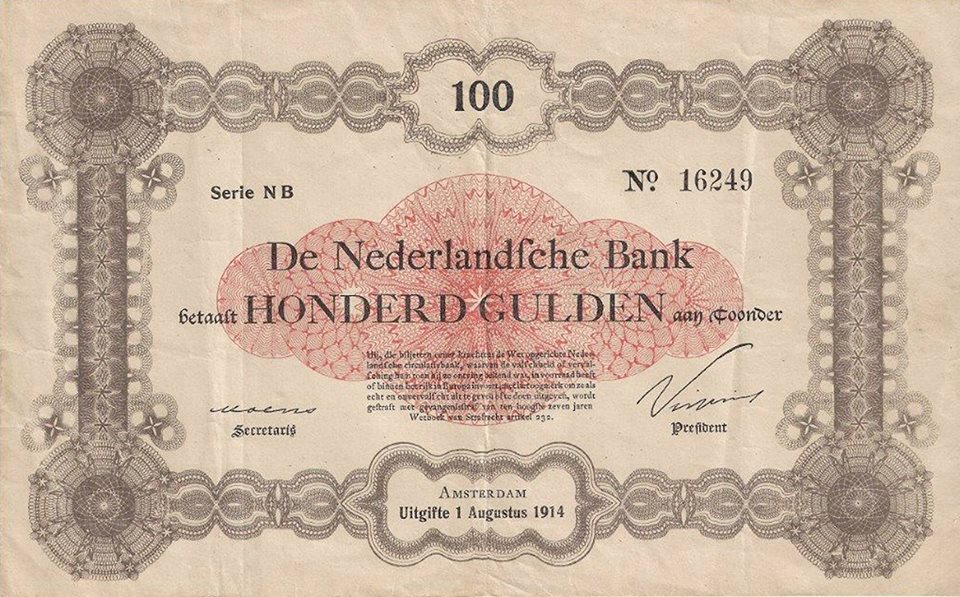 A rare and unique 100 Gulden banknote dated August 1st 1914