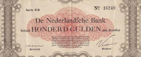 Een zeldzaam en uniek 100 Gulden bankbiljet gedateerd op 1 augustus 1914